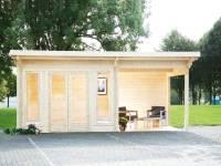Wolff Finnhaus Pultdachhaus Trondheim 70-A XL mit Seitendach 400 cm links