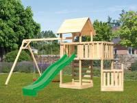Akubi Spielturm Lotti + Schiffsanbau unten + Anbauplattform + Doppelschaukel + Kletterwand + Rutsche grün