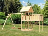 Akubi Spielturm Lotti natur mit Anbauplattform XL und Doppelschaukel