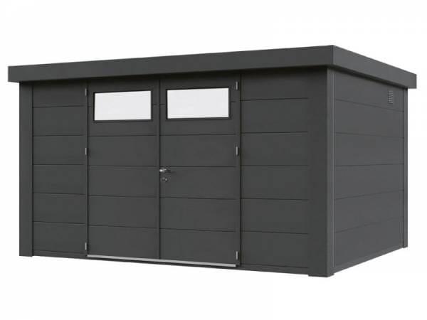 Wolff Finnhaus Metall-Gerätehaus Eleganto 3024 Granitgrau inkl. Dachrinne und Fallrohr