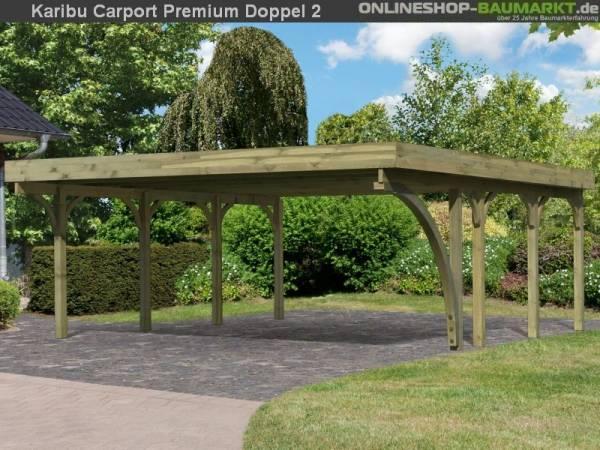 Karibu Carport Premium Doppel 2 mit 1 Einfahrtsbogen kdi