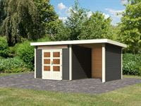 Karibu Woodfeeling Gartenhaus Kandern 6 in terragrau mit Anbaudach 2,6 Meter inkl. Rück- und Seitenwand