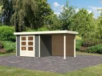 Karibu Woodfeeling Gartenhaus Askola 3 mit Anbaudach 2,4 m, Rückwand, terragrau