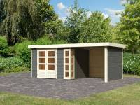 Karibu Woodfeeling Gartenhaus Kerko 5 terragrau mit Anbaudach 2,40 m inkl. Seiten- und Rückwand