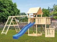 Akubi Spielturm Lotti + Schiffsanbau unten + Anbauplattform + Netzrampe + Doppelschaukel mit Klettergerüst + Rutsche blau