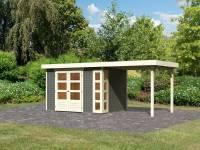 Karibu Woodfeeling Gartenhaus Kerko 4 in terragrau mit Anbaudach 2,40 m