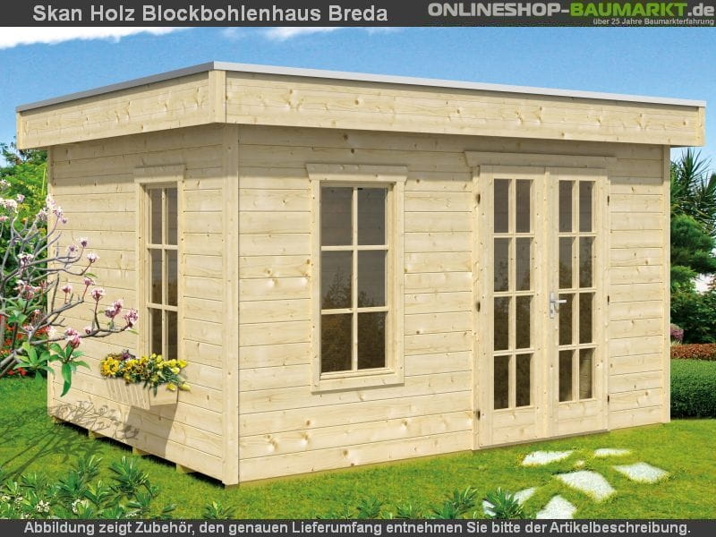 skan holz blockbohlenhaus breda in 28 mm systembaubauweise w nde aus einzelnen 28 mm starken. Black Bedroom Furniture Sets. Home Design Ideas