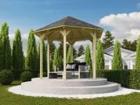 Karibu 6-Eck Pavillon Eco Madrid Sparset inkl. Schindeln