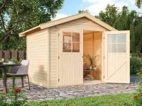 Karibu Gartenhaus Harburg 4 natur mit klassischer Tür