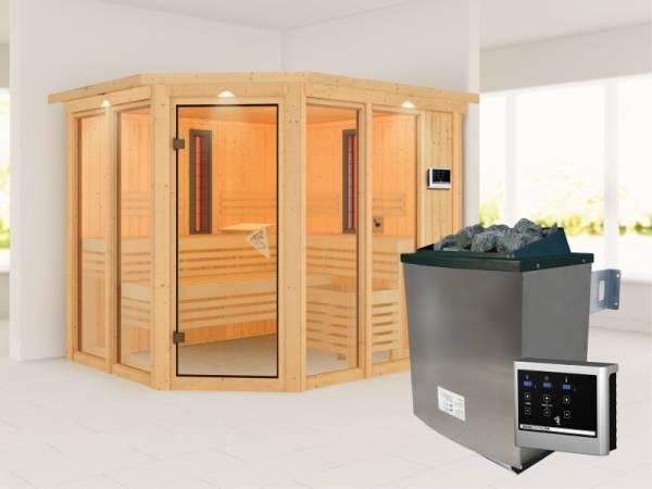 Karibu Multifunktions-Sauna Ava mit Dachkranz, 9 kW Ofen und Infrarotstrahler