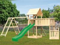 Akubi Spielturm Lotti + Schiffsanbau unten + Anbauplattform XL + Doppelschaukel mit Klettergerüst + Netzrampe + Rutsche grün
