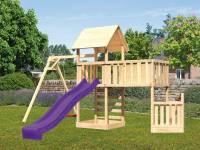 Akubi Spielturm Lotti + Schiffsanbau unten + Anbauplattform XL + Kletterwand + Einzelschaukel + Rutsche violett