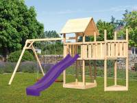 Akubi Spielturm Lotti Satteldach + Schiffsanbau oben + Anbauplattform + Doppelschaukel + Rutsche in violett