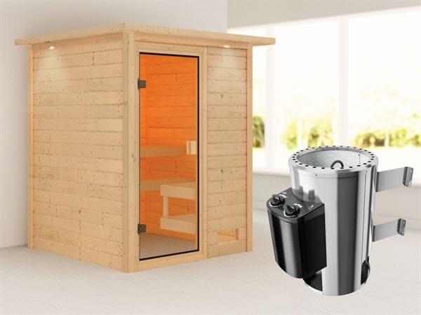 Karibu Sauna Sandra mit 3,6 kW Ofen integr. Strg und Dachkranz 38 mm