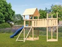 Akubi Spielturm Lotti Satteldach + Schiffsanbau oben + Anbauplattform XL + Netzrampe + Rutsche in blau