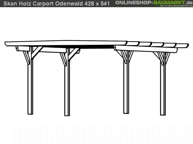 Skan Holz Carport Odenwald 428 x 541 cm Leimholz