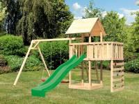 Akubi Spielturm Lotti Satteldach + Rutsche grün + Doppelschaukel + Anbauplattform + Kletterwand