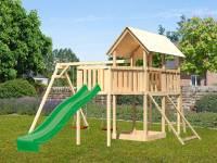 Akubi Spielturm Danny Satteldach + Rutsche grün + Doppelschaukel + Anbauplattform XL + Netzrampe