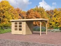 Karibu Gartenhaus Jever 3 mit Anbaudach 2,40 Meter inkl. Fußboden