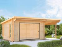 Wolff Gartenhaus Trondheim 70-D XL mit Schiebetür und Seitendach 200 cm Rechts