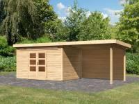 Karibu Woodfeeling Gartenhaus Kandern 7 mit Anbaudach 3,2 Meter inkl. Rückwand