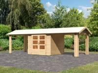 Karibu Woodfeeling Gartenhaus Tastrup 3 mit 2 Dachanbauten 2,40 Meter