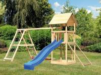 Akubi Spielturm Lotti- Doppelschaukel mit Klettergerüst, Netzrampe und Rutsche in blau