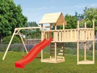 Akubi Spielturm Lotti Satteldach + Schiffsanbau oben + Doppelschaukel + Anbauplattform XL + Kletterwand + Rutsche in rot