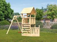 Akubi Spielturm Lotti + Schiffsanbau unten + Einzelschaukel + Kletterwand