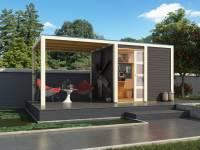 Karibu Gartenhaus Qubic in terragrau mit Anbaudach