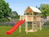 Akubi Spielturm Danny Satteldach + Rutsche rot + Anbauplattform + Kletterwand