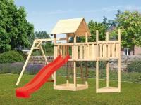 Akubi Spielturm Lotti Satteldach + Schiffsanbau oben + Anbauplattform + Einzelschaukel + Rutsche in rot