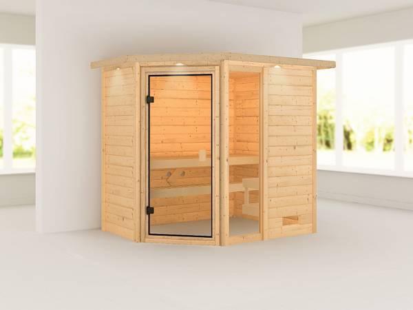 Karibu Woodfeeling Sauna Jada mit Dachkranz 38 mm