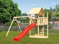 Akubi Spielturm Lotti Satteldach + Schiffsanbau oben + Doppelschaukel + Kletterwand + Rutsche in rot