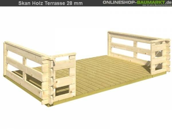 Skan Holz Terrasse 200 cm für 28 mm Gartenhäuser bis 340 cm Breite