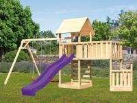 Akubi Spielturm Lotti + Schiffsanbau unten + Anbauplattform XL + Kletterwand + Doppelschaukel + Rutsche violett