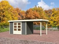 Karibu Aktions Gartenhaus Jever 4 in terragrau mit Anbaudach 2,40 Meter, Fußboden und Dacheindeckung