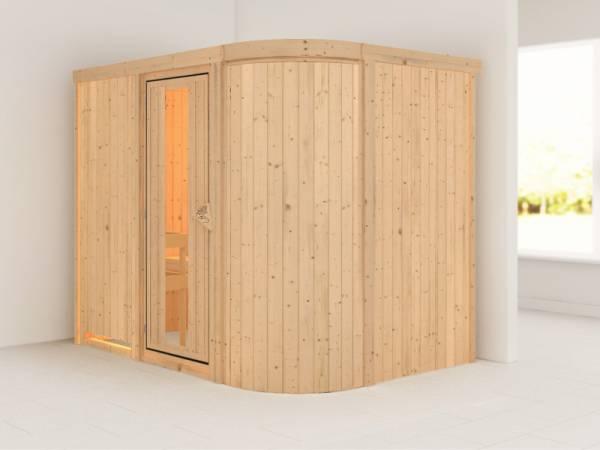 Karibu Sauna Titania 4 ohne Ofen, ohne Dachkranz, mit Energiespartür