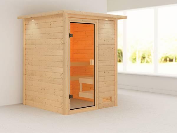 Karibu Woodfeeling Sauna Sandra mit Dachkranz 38 mm