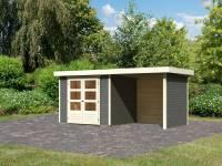Karibu Woodfeeling Gartenhaus Askola 3 in terragrau mit Anbaudach 2,40 Meter, Seiten- und Rückwand