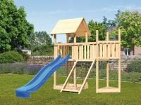 Akubi Spielturm Lotti Satteldach + Schiffsanbau oben + Anbauplattform + Netzrampe + Rutsche in blau