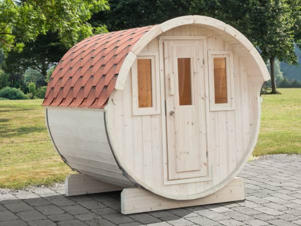 Wolff Finnhaus Saunafass Basic 230 als Bausatz mit roten Dachschindeln