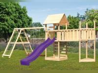 Akubi Spielturm Lotti Satteldach + Schiffsanbau oben + Doppelschaukel mit Klettergerüst + Anbauplattform XL + Kletterwand + Rutsche in violett