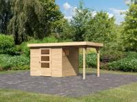 Karibu Woodfeeling Gartenhaus Oburg 3 natur mit Anbaudach 1,5 Meter