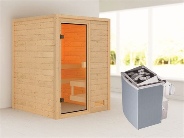 Karibu Woodfeeling Sauna Sandra mit 4,5 kW Ofen integr. Strg ohne Dachkranz