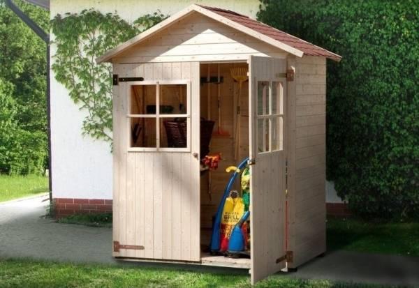 Weka Terrassenschrank mit Satteldach und Doppeltür