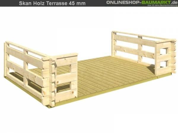 Skan Holz Terrasse 200 cm für 45 mm Gartenhäuser bis 380 cm Breite