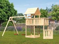 Akubi Spielturm Lotti + Schiffsanbau unten + Anbauplattform + Doppelschaukel