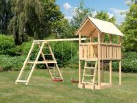 Akubi Spielturm Danny Satteldach + Doppelschaukelanbau Klettergerüst