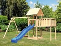 Akubi Spielturm Lotti natur mit Anbauplattform XL, Doppelschaukel und Rutsche blau